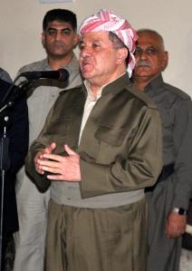 The President of Iraqi Kurdistan Barzani speaks during a visit to Kirkuk