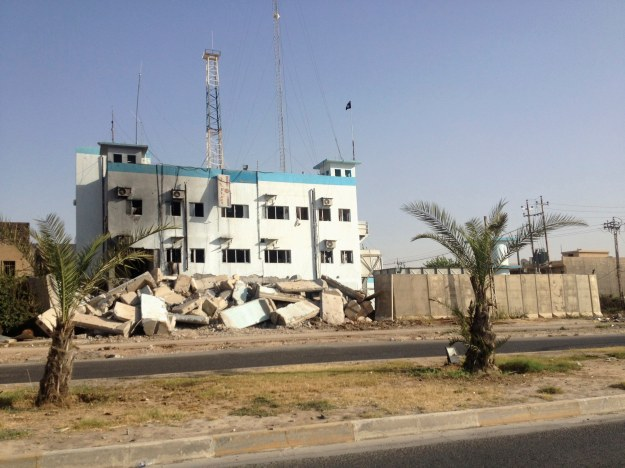 A view of a damaged police station in the city of Mosul