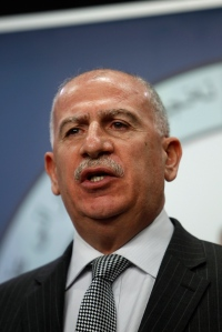 Osama al-Nujaifi, speaker of the Iraqi Council of Representatives, addresses a news conference in Baghdad
