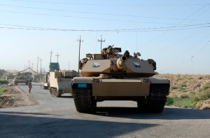 Tanks belonging to the Iraqi security forces take part in an intensive security deployment on outskirts of Samarra