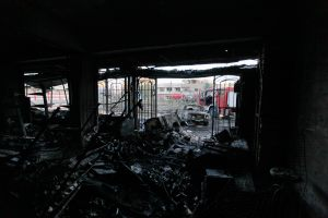 Interior of a destroyed building is seen at the site of a car bomb attack in Baghdad