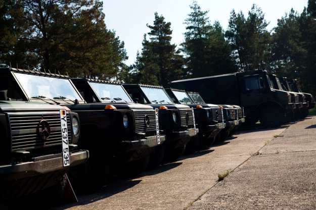 Military vehicles that are part of a German military aid shipment for Kurdish forces in Northern Iraq are parked at a storage facility of the Bundeswehr armed forces in Waren