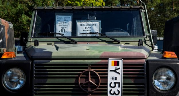 Wolf military vehicle that is part of German aid shipment for the Iraqi government is parked at storage facility of Bundeswehr armed forces in Waren