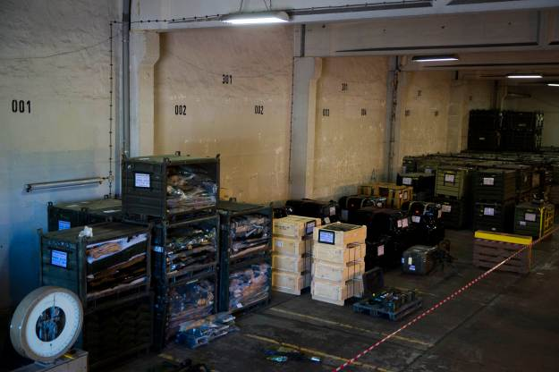 Containers with military equipment that are part of a German military aid shipment for Kurdish forces in Northern Iraq are on display for the media at a storage facility of the Bundeswehr armed forces in Waren