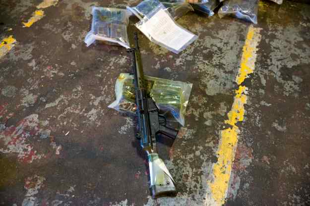 A G3 automatic weapon that is part of a German military aid shipment for Kurdish forces in Northern Iraq is on display for the media at a storage facility of the Bundeswehr armed forces in Waren