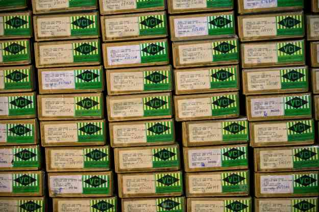 Boxes of P1 pistols that are part of a German military aid shipment for Kurdish forces in Northern Iraq are on display for the media at a storage facility of the Bundeswehr armed forces in Waren