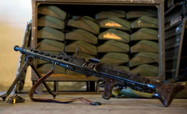 A MG3 automatic weapon that is part of a German military aid shipment for Kurdish forces in Northern Iraq is on display for the media at a storage facility of the Bundeswehr armed forces in Waren