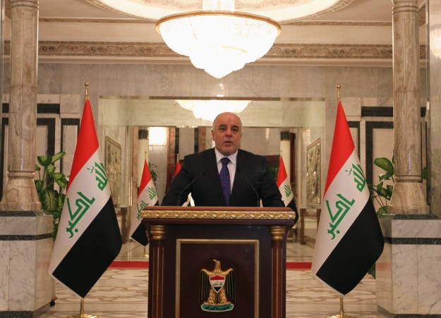 Iraq's Prime Minister-designate Haider al-Abadi speaks during a news conference in Baghdad