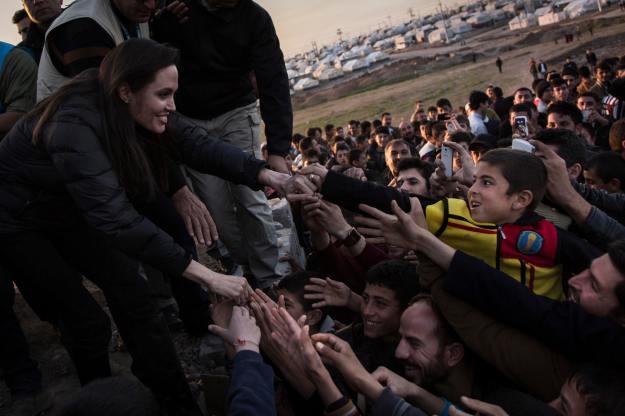 UNHCR Special Envoy Jolie meets members of the Yazidi minority in Khanke IDP Camp in Dohuk