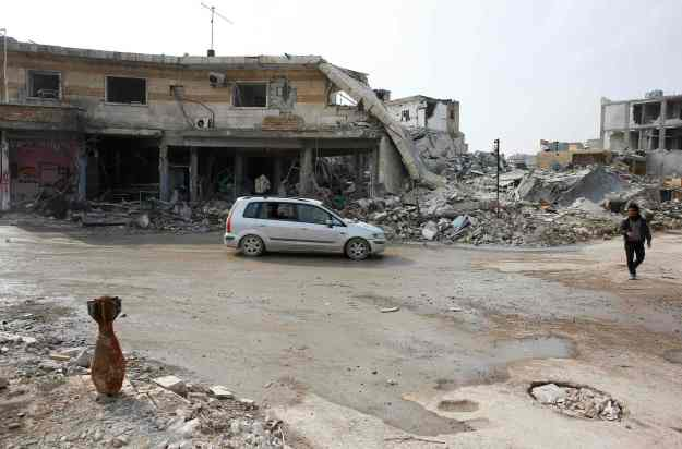A mortar shell is pictured in a street of the northern Syrian town of Kobani