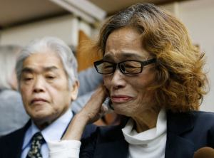 Ishido, mother of Kenji Goto, a Japanese journalist who was held captive by Islamic State militants, speaks to reporters at her house in Tokyo